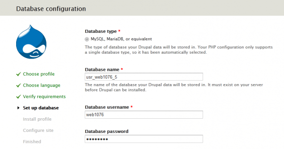 Drupal Installation - Datenbank konfiguration
