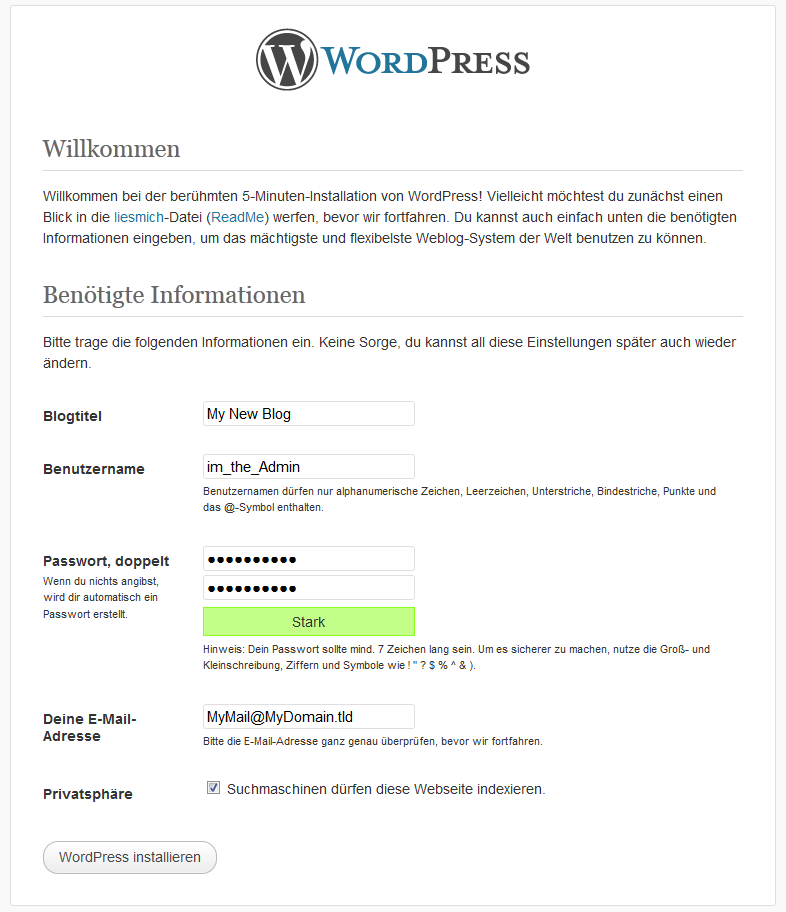 Grundkonfiguration WordPress