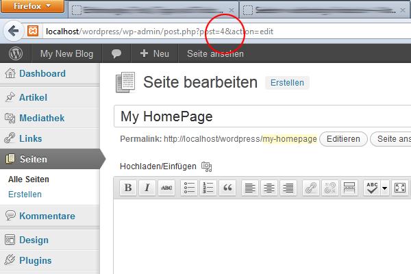 WordPress Page-ID auslesen