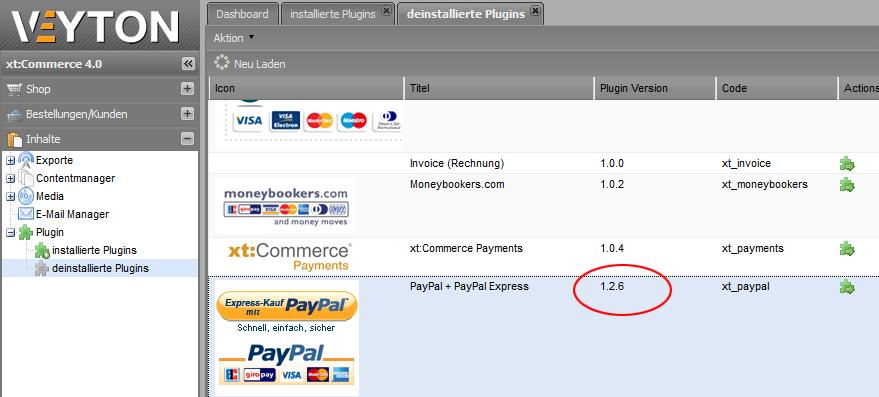 PayPal bei xt:Commerce 4 Veyton aktivieren