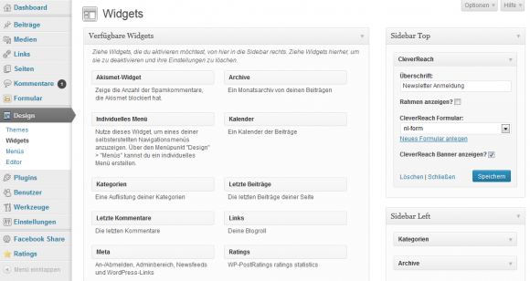 CleverReach widget in WordPress aktivieren