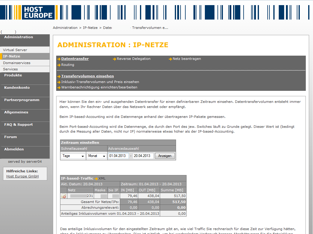HostEurope: Administration der IP-Netze (virtual Server)