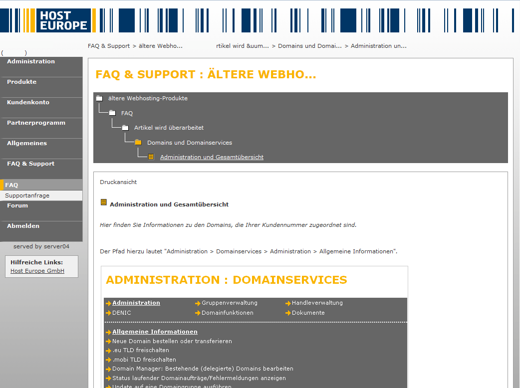 HostEurope: Der FAQ zur Konfiguration der automatischen Backup bei Virtual-Servern