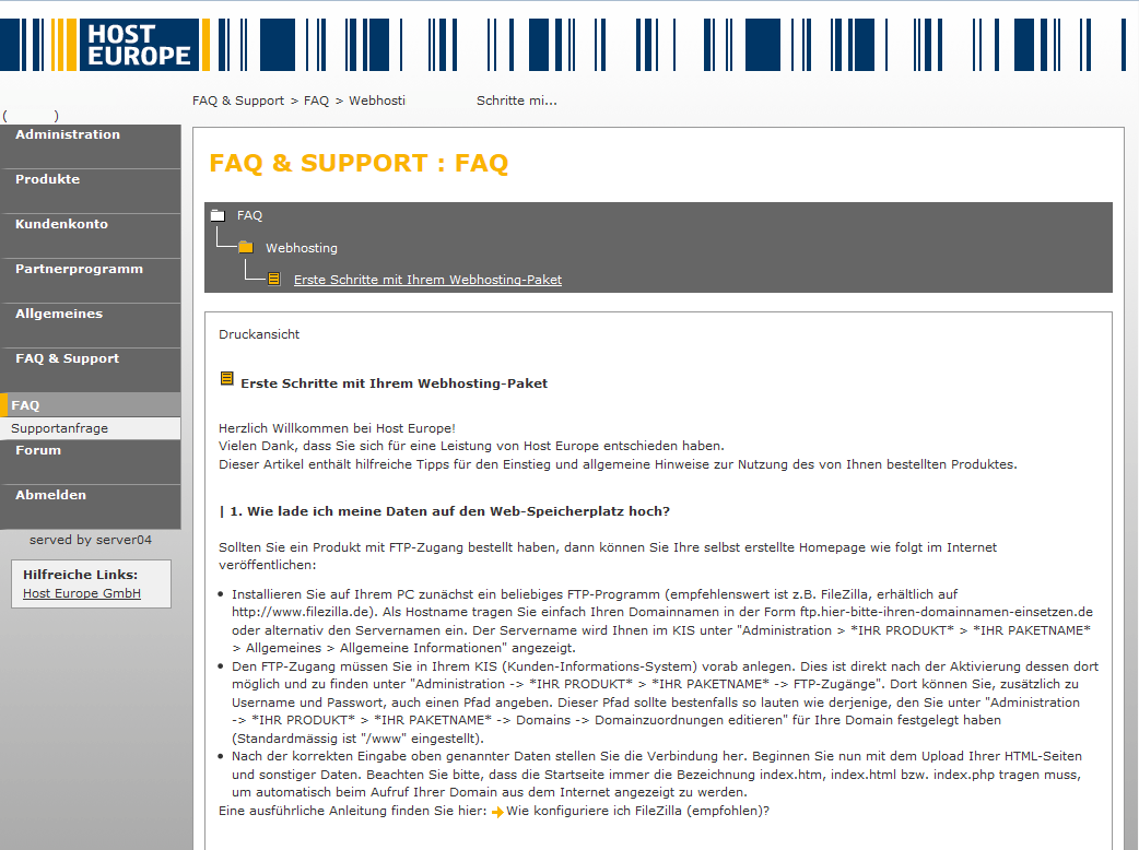 HostEurope: Der FAQ zu den ersten Schritten im KIS