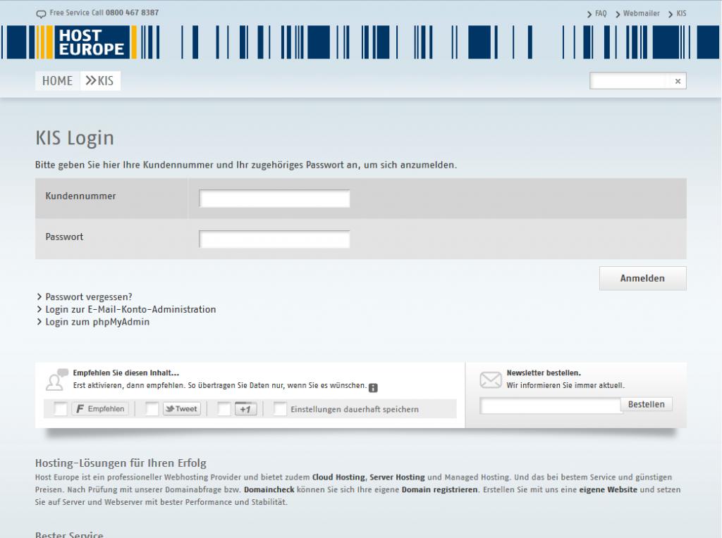 HostEurope-KIS-Login webhosting-finder.de