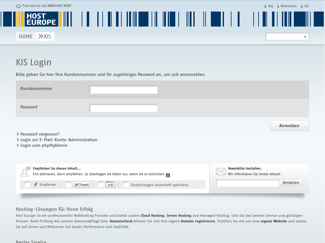 HostEurope: Der KIS-Login