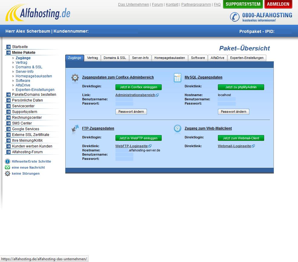 Alfahosting Account Übersicht