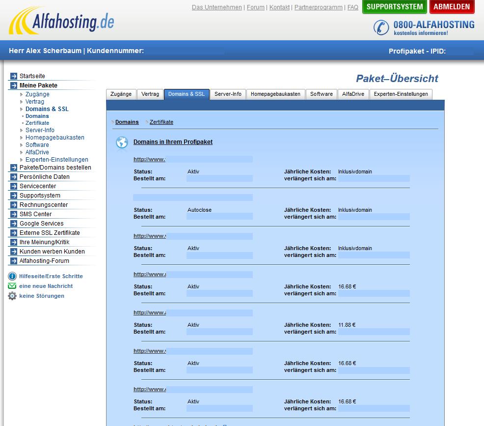 Alfahosting Domainmanagemet
