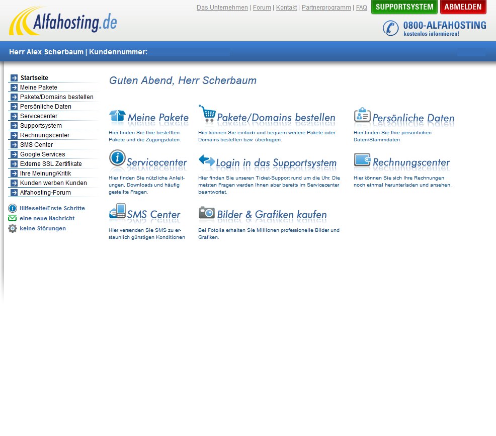 Alfahosting Loginbereich