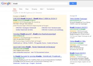 Google Adsense anzeigen zum Wort Kredit