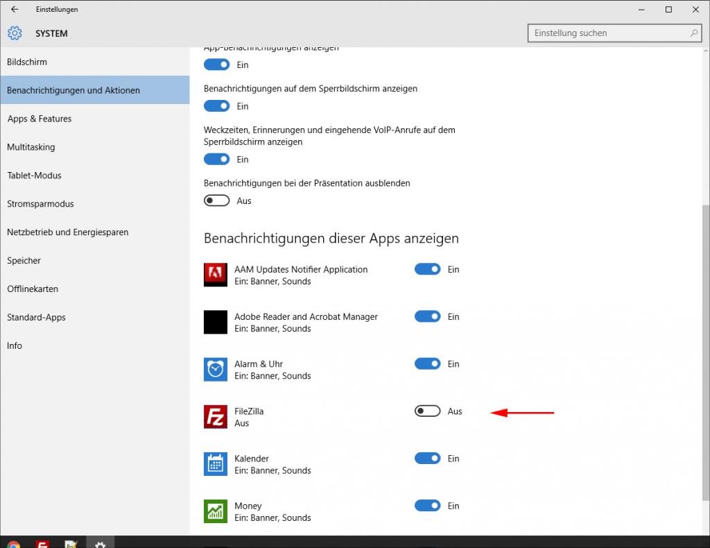 Windows 10: Filezilla Benachrichtigungen deaktivieren